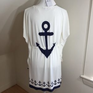anchor print drawstring waist beach dress